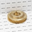 """Bronze Gear, 1 1/4"""" Bore, 10:1 Ratio, Double Keyed - Little Beaver 10070 (Grid Shown For Scale)"""
