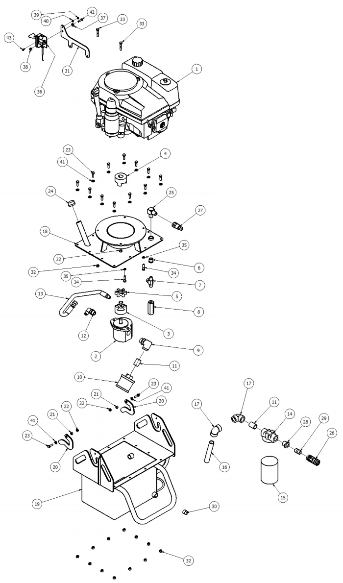 Little Beaver Hydraulic Tank Assembly for HYD-NTV11H Parts Diagram