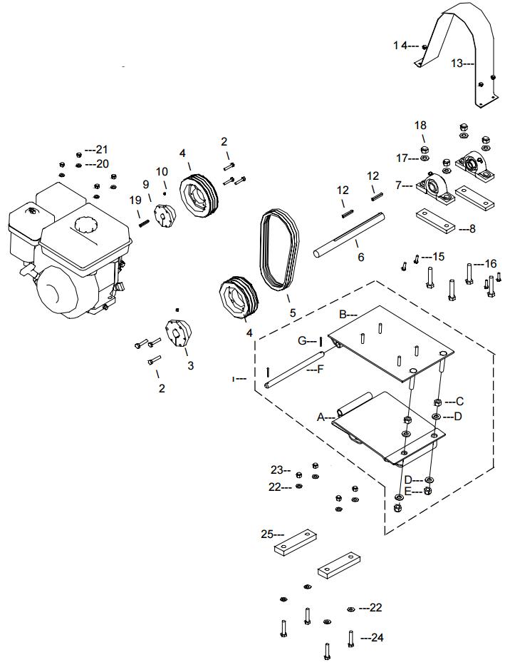 Little Beaver KT1200B Belt Drive Assembly Parts Diagram