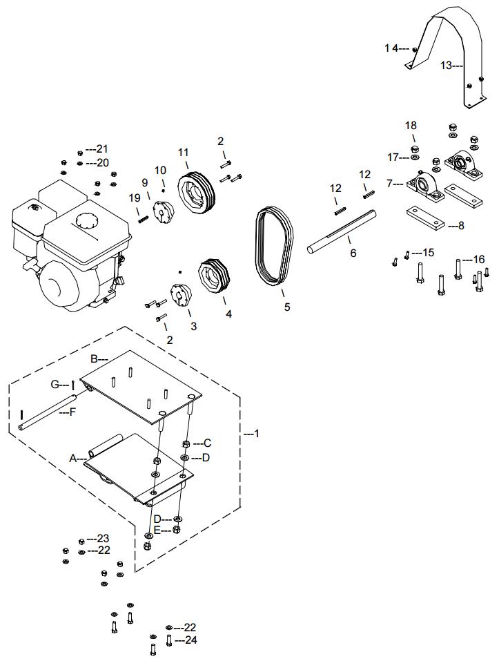 Little Beaver KT200B Belt Drive Assembly Parts Diagram