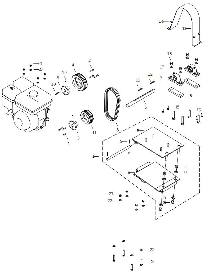 Little Beaver KT2400B Belt Drive Assembly Parts Diagram
