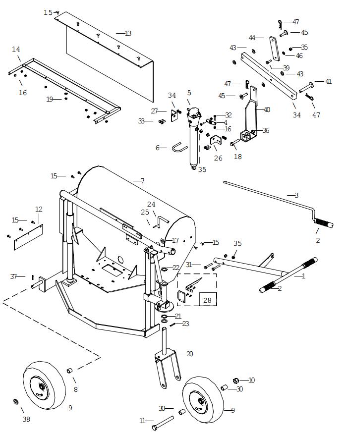 Little Beaver KT2400B Frame Assembly Parts Diagram